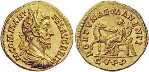 Aureo de Cómodo. FORTVNAE MANENTI / CVPP. Roma W-500-commode-fortvna-manenti-liaison-de-coin-1568538034