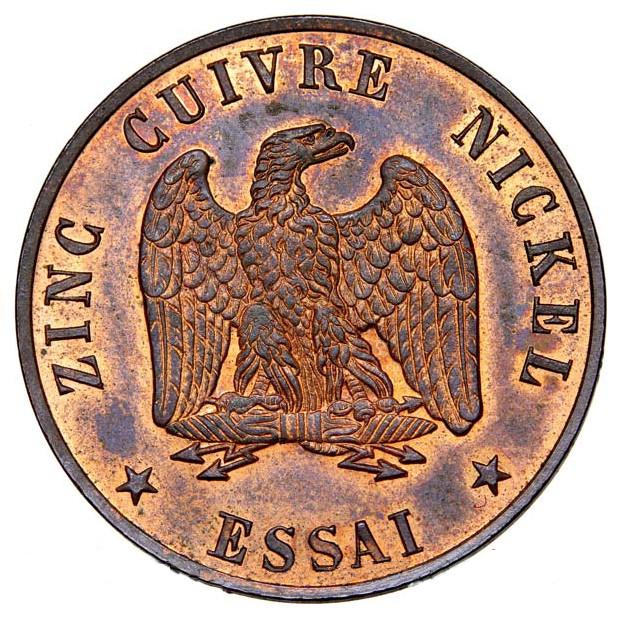 Essai in bronze of the 5 centimes (1856), Napoleon III