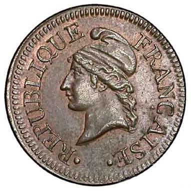 Essai in bronze of the Un centime (1798), Dupré, without